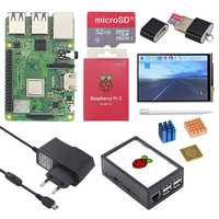 Original Raspberry Pi 3 Modelo B, modelo B + (Plus) placa + pantalla táctil de 3,5 pulgadas + adaptador de corriente 1,4 GHz quad-core de 64 bits procesador WiFi y Bluetooth