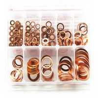 245 piezas 10 tamaños métrico plano de cobre anillo lavadora juntas Kit de surtido de