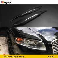 Fiber De carbone Voiture Phare Sourcil Garniture Autocollant Lampe Frontale Paupière pour Audi A4 B7 2005 2006 2007 2008 année A4 FC sourcil 2pc