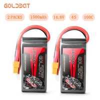 2 unités GOLDBAT 1500 mah Lipo batterie 14.8 v batterie Lipo 4 s batterie 14.8 v lipo drone batterie 100C avec prise XT60 pour camion fpv rc