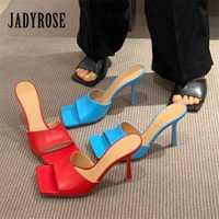Jady Rose été pantoufles bout carré femmes sandales talon haut pantoufle Sexy robe chaussures femme dames Mules rouge noir bleu diapositives