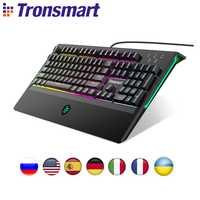 Tronsmart TK09R Teclado mecánico teclado de juego USB teclado 104 clave con RGB con retroiluminación Macro azul interruptores para jugador dota 2