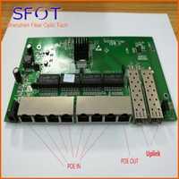 2 puertos SFP + 8 puertos RJ45 POE interruptor inverso de la Junta no manejable 1 ~ 7 puertos POE en puerto y 8 POE fuera