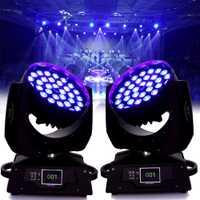(El barco de Alemania) 2 unids/lote 36x10 W RBGW rojo verde azul blanco LED de Zoom lavado efecto Disco punto de la cabeza de la lámpara DJ iluminación de escenario