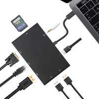 Adaptador USB, USB tipo C a HDMI VGA Gigabit Ethernet RJ45 adaptador USB-C tipo C Hub de 4 K AUX SD lector de tarjeta Multi para el Macbook Air Pro 2018