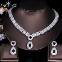 ANGELCZ de lujo Zirconia cúbico nupcial Vintage joyería de piedra de cristal negro collar de la boda pendientes de la mujer AJ089