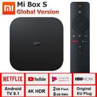 Xiao mi mi Boîte S 4 K TV Box Cortex-A53 Quad Core 64 peu Mali-450 1000Mbp Android 8.1 wiFi BT4.2 2 GB + 8 GB HD mi 2.0 TV Box Dernière