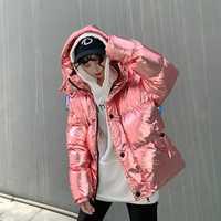 Streetwear ins super fuego de plata brillante de invierno chaqueta gruesa calor Harajuku abajo de la chaqueta de las mujeres parkas