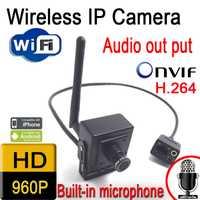 Gran venta en cámara IP hd 960 p 1,3 píxeles cámaras onvif, mini cámara CCTV inalámbrica sistema de seguridad altavoz Puerta de audio Cámara