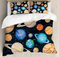 Galaxy Fundas nórdicas set lindo Galaxy espacio arte Sistema Solar planetas Marte mercurio Urano Júpiter Venus niños imprimir 4 unids Ropa de cama conjunto