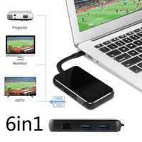 Tipo C a HDMI 4 K Video Adaptador convertidor VGA RJ45 Lan Gigabit Ethernet Cable HUB USB 3,0 para Macbook para Huawei P20 Samsung S9