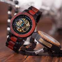 BOBO BIRD reloj mecánico de madera de lujo de diseño Retro para hombre con etiqueta dorada junto a reloj de pulsera automático y multifuncional