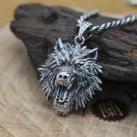 Nuevo 925 colgante de cabeza de Lobo de plata 100% colgante de lobo de la energía de la vendimia collar de joyería de hombre colgante de joyería PUNK