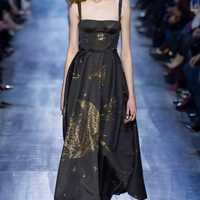 Nueva primavera kaki Luna estrella vestido largo hilo de oro bordado vestido.