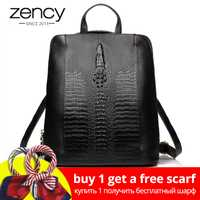 Zency 100% genuino Mochila de cuero de las señoras patrón de cocodrilo mujeres mochila niña cuaderno mochilas bolsas de viaje de alta calidad