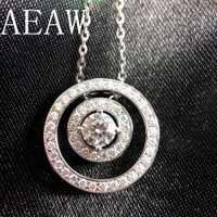 AEAW Chapado en platino plata 1.47CTW 3,5mm F Color Moissanite Halo colgante collar con acentos