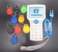 Inglés Rfid NFC copiadora lector y escritor de clonador copia 10 frecuencia programador + 5 unids 125 Khz EM4305 llaveros + 5 unids 13,56 MHz UID clave