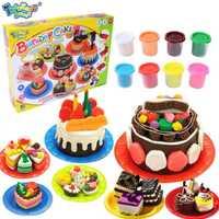 Niños DIY no tóxico Fimo Playdough cumpleaños de simulación modelo Kit de arcilla molde niños Pretend Play juguetes de inteligencia herramientas
