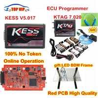 DHL en línea versión KESS V5.017 No Token Limited KESS 5.017 V2.47 + KTAG 7.020 K etiqueta V2.23 ECU Chip Tuning herramienta LED + marco BDM