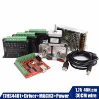 Envío gratuito mejor combinado 17hs4401 Motor paso a paso 42 motor Nema 17 + TB6600 controlador de motor + MACN3 controlador de tarjeta + 12V5A60W de