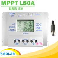 Y-SOLAR MPPT 80A controlador de carga Solar 12 V 24 V Regulador Solar 80A Max 48 V de entrada con luz Y Control DE temporizador USB 5 vcorriente