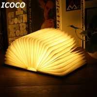 Portátil USB recargable LED magnético plegable de libro de madera lámpara luz de la noche de la lámpara de escritorio de la venta caliente para la decoración del hogar de la nave de la gota