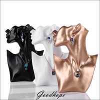 Mejor perla Cadena de joyería pendiente collar soporte de exhibición del estante negro resina de oro blanco joyería organizador titular busto caso