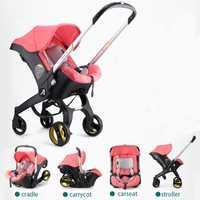 Marca Cochecitos de bebé 3 en 1 coche plegable luz con asiento de coche silla de paseo y bebé cuna Cochecitos de bebé para recién nacidos Landscope 4 en 1