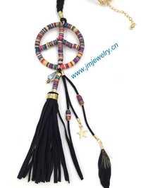 Joyería hecha a mano personalizada larga cuerda de cuero collar de cuero borla pendents Boho largo Collares paz diseños