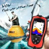 Buscador de peces de Sonar inalámbrico más profundo FF1108-1CWLA buscador de peces con pantalla de Color alarma de mordedura de Pesca para Pesca a prueba de agua