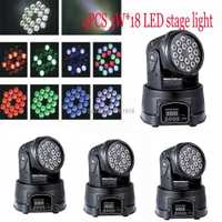 (4 unids/lote) LED RGB DJ luz 18*3 W RGB LED DMX luz principal móvil Quad con avanzado 13 canales