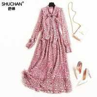 Shuchan vestido para las mujeres Chic de la pradera impresión Vestidos de gasa a mediados de-becerro corbata de lazo Vestidos vestido largo rosa manga completa