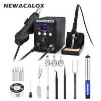 NEWACALOX 8586 de la UE 220 V 700 W pistola de aire caliente de soldadura sin plomo Estación de retrabajo BGA SMD de calor eléctrico hierro Kit de soldadura punta de soldadura