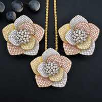 ModemAngel lujo flor AAA Cubic Zirconia cobre compromiso nupcial collar pendiente Dubai conjunto de joyas para mujeres