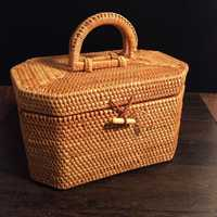 Tejido de ratán de Vietnam Octagon portátil de lata de té Pu'er caja de té con tapa regalo artesanal joyería almacenamiento organizador de maquillaje