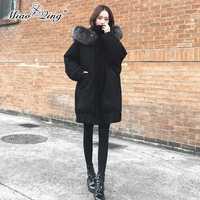 MIAOQING coreano invierno abrigo negro de las mujeres de piel con capucha Parka gran tamaño globo chaquetas negro abrigos abrigo Plus tamaño ropa
