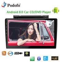 Podofo 2 din Android 8,0 wifi coche reproductor Multimedia Autoradio 10,1 ''coche CD/reproductor de DVD pantalla táctil Audio estéreo navegación GPS