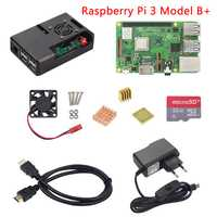Raspberry Pi 3 Modelo B o Raspberry Pi 3 Modelo B, modelo B +, placa + ABS + Mini fuente de alimentación PC Pi 3B/3B + con WiFi y Bluetooth
