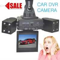 2015 nuevo de alta calidad de doble lente coche DVR 2.0 pulgadas TFT de pantalla giratoria Cámara H3000 120 amplia visión nocturna visión DVR Coche