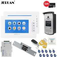 JERUAN nuevo videoportero voz/grabación de vídeo intercomunicador kit con 7 pulgadas LCD pantalla + RFID IR cámara de acceso 1V2
