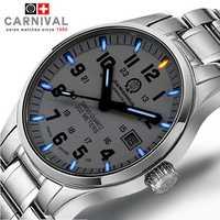 Carnaval de la marca de lujo reloj de los hombres de cuarzo relojes de hombres tritio luz luminosa reloj hombre militar resistente al agua reloj hombre C8638G-7