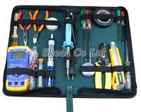 Envío Gratis 18 unids familia electricista kit de herramientas de reparación multímetro + alicates + soldador + lápiz de prueba + línea de succión + bomba de succión