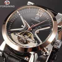 Montre Tourbillon classique pour hommes montre automatique de luxe de marque supérieure calendrier boîtier doré horloge mâle montre mécanique noire