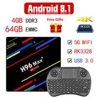 Android 8,1 caja de TV inteligente H96 Max + RK3328 4 GB RAM 64 GB ROM 5G Wifi 100 M LAN H.265 Android TV caja de VP9 USB 3,0 Polonia Set-top Box