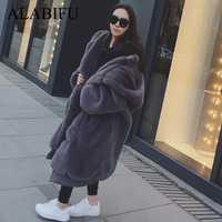 ALABIFU invierno Faux abrigo de piel las mujeres largo de 2018 cálida chaqueta de piel chaqueta abrigo sudaderas con capucha Casual suelto bolsillo abrigo Outwear casaco feminino