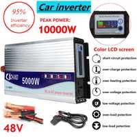 Onduleur 12 V/24 V/48 V 220 V 5000 W 10000 W convertisseur de tension de transformateur de tension sinusoïdale modifiée de crête + écran LCD