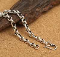 KJJEAXCMY joyería fina S925 collar redondo clásico de plata de 6mm para hombre.