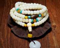 Hagit-Blanc jade bodhi Bouddha perle, bois de santal rouge chaîne de main de hommes et femmes cire.