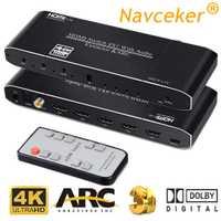 2019 mejor 4K HDMI 2,0 interruptor de 4x1 HDR HDMI Switcher Audio Extractor con arco y IR interruptor HDMI 2,0 para PS4 Apple TV HDTV