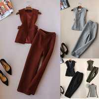 Elegante y guapo Oficina señora OL lana chaleco y pantalones de pierna ancha ropa mujeres invierno lana ropa conjuntos